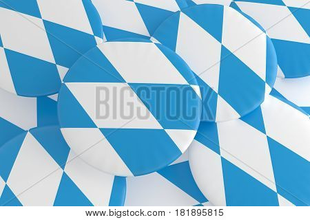 German States Badges: Pile of Bavaria Flag Buttons 3d illustration