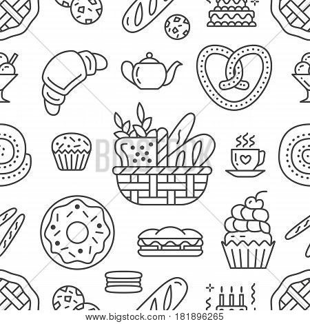 Bakery seamless pattern, food vector background of black, white color. Confectionery products thin line icons - cake croissant, muffin, pastry, cupcake, pie. Cute repeated illustration for sweet shop.