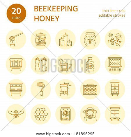 Beekeeping, apiculture line icons. Beekeeper equipment, honey processing, honeybee, beehives types, natural products. Bee-garden thin linear signs for organic farm shop. Orange, yellow color.