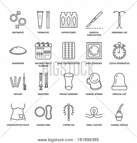 Contraceptive methods line icons. Birth control equipment, condoms, oral contraceptives, iud, barrier contraception, vaginal ring, sterilization. Safe sex thin linear signs for medical clinic. poster