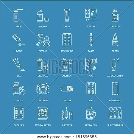 Medicines, dosage forms blue line icons. Pharmacy medicament, tablet, capsules, pills, antibiotics, vitamins, painkillers, aerosol spray. Medical threatment health care thin linear sign for drug store