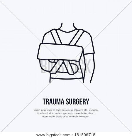 Shoulder immobiliser for broken leg icon, orthopedic surgery line logo. Flat sign for trauma rehabilitation equipment shop.