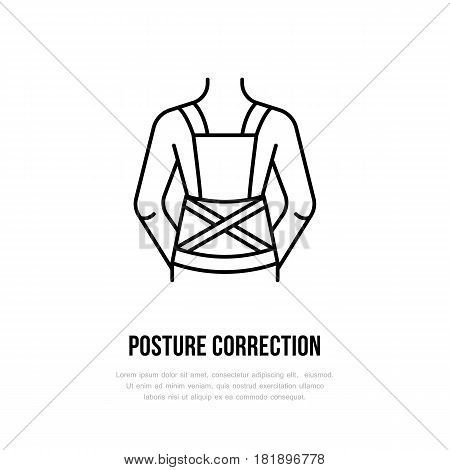 Posture correction icon, line logo. Flat sign for trauma rehabilitation equipment shop.