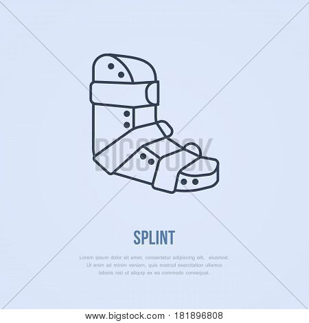 Splint for broken leg icon, line logo. Flat sign for trauma rehabilitation equipment shop.