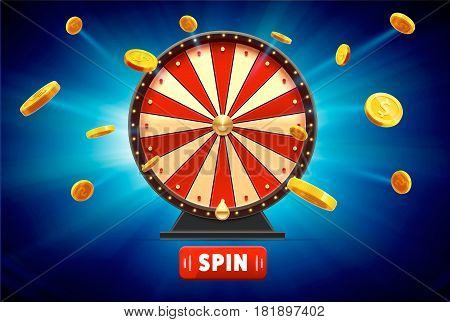 vector illustration of wheel of fortune with gold coins 3d object isolated on blue glowing background