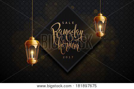 vector illustration of ramadan kareem background, lantern, holiday, vector illustration eps 10 gold colors