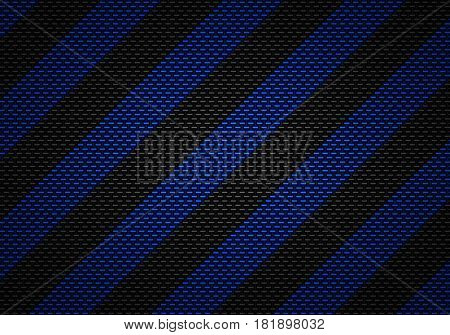 Abstract modern black carbon fiber textured material design with blue warning tape background graphic design