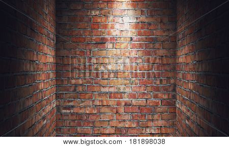 Empty grungy room with red brick wall dead end and spotlight. 3d rendering illustration