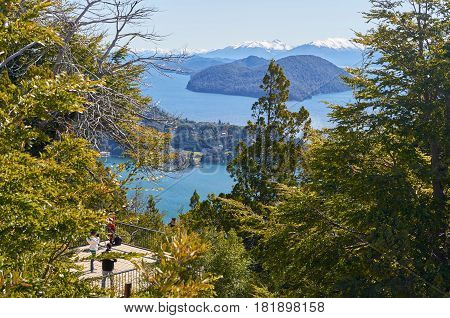 SAN CARLOS DE BARILOCHE RIO NEGRO ARGENTINA - SEPTEMBER 12 2015: Beautiful view of mountains and lakes from the top of Campanario Hill in San Carlos de Bariloche Rio Negro Argentina.