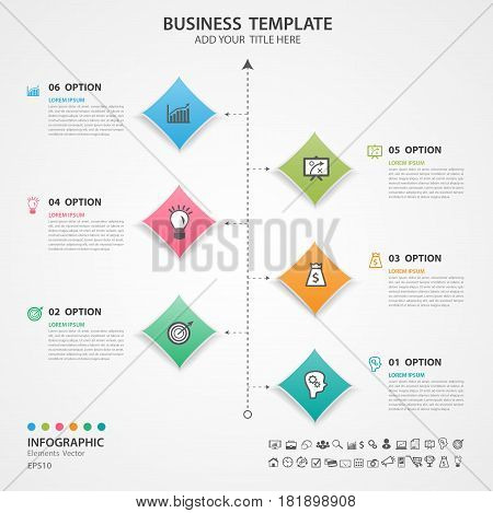 Abstract elements of square diagram with 6 steps options Vector illustration web design presentation diagram infomations workflow layout