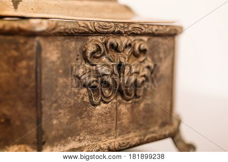 Close-up of a relief pattern on a vintage casket with Keyhole