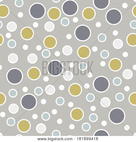 Abstract seamless pattern with randomly dots. Background with different circles. Messy white violet gold gray bubbles with white outline on gray. Dotted texture. Vector illustration.