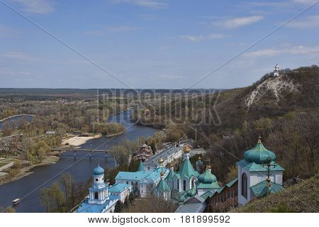 Siversky Donets river in Sviatohirsk spring. View from St. Nicolas church