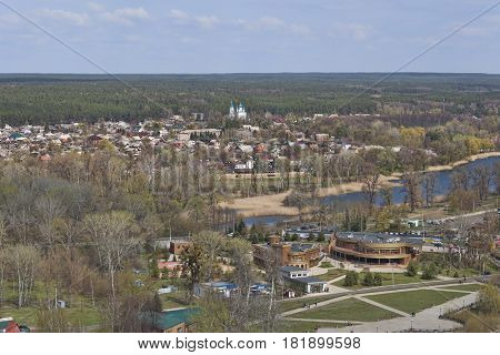 SVIATOHIRSK UKRAINE - APRIL 16 2017: Panorama of Sviatohirsk. View from St. Nicolas Church