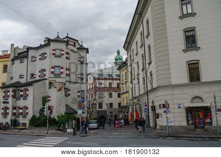 INNSBRUCK, AUSTRIA - August 17, 2010: Traditional houses in Innsbruck old town Austria. Innsbruck is the capital city of the federal state of Tyrol (Tirol)