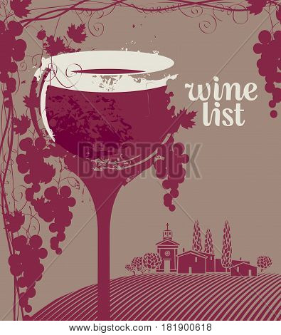 Cover for a wine list menu with glass bunch of grapes and landscape of vineyards and village