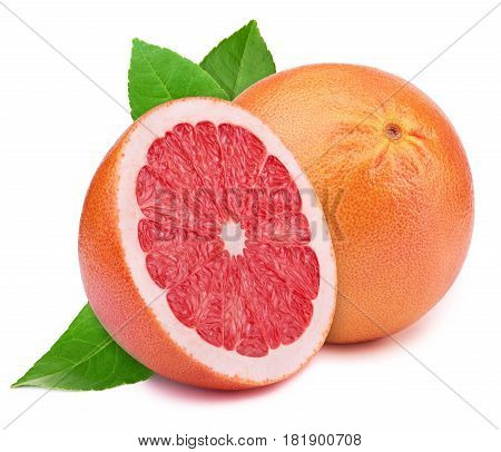 Perfectly retouched grapefruit with half slice and leaves isolated on white background with clipping path