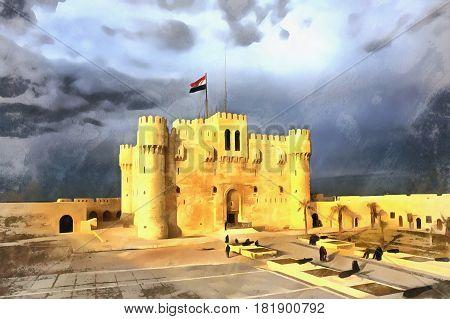Colorful painting of Citadel of Qaitbay, Alexandria, Egypt