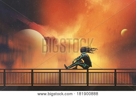 woman in futuristic suit sitting on railing looking at beautiful night sky, illustration painting