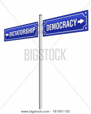 DICTATORSHIP and DEMOCRACY, written on two signposts in opposite directions. Isolated vector illustration on white background.