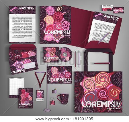 Trendy geometric corporate identity template design with bright elements. Modern abstract business set stationery.