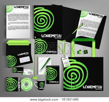 Black corporate identity template design with green design elements.  Business set stationery.