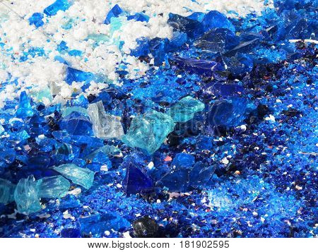 Close-up of crushed blue and white Venetian glass