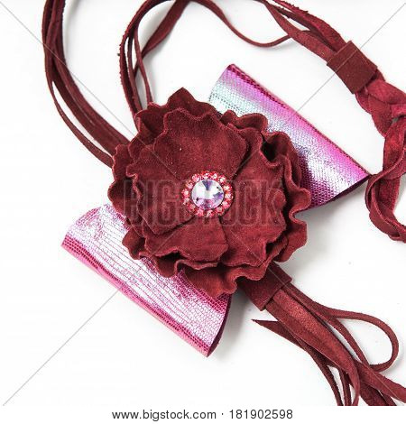 Leather Flowers Isolated On White