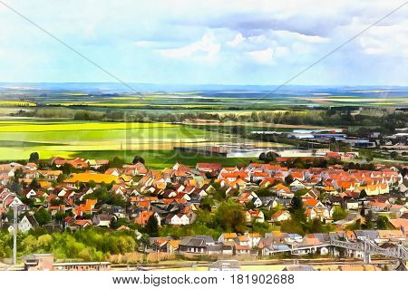 Colorful painting of landscape with small town on foreground, Aisne department, Picardy, France