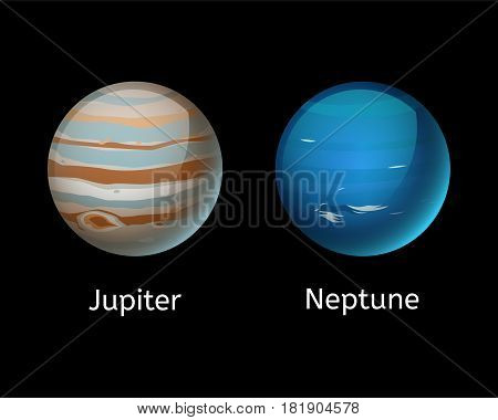 High quality jupiter planet galaxy astronomy and neptune universe science globe cosmos orbit star vector illustration. Astrology planetary world exploration journey scientific surface.