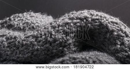 Detailed Knitted Work Gray Wool Fabric Background.