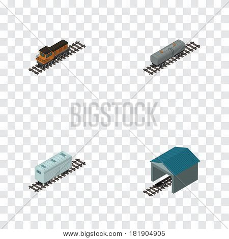 Isometric Wagon Set Of Railroad Carriage, Train, Oil Wagon And Other Vector Objects. Also Includes Wagon, Railway, Petroleum Elements.