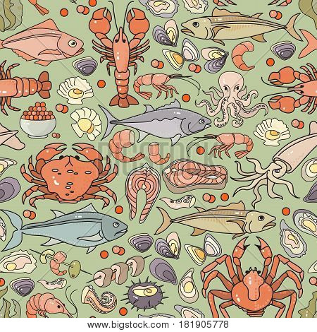 Vector seamless pattern of hand drawn colorful seafood icon on light  background. Seafood  flat design vector illustration.