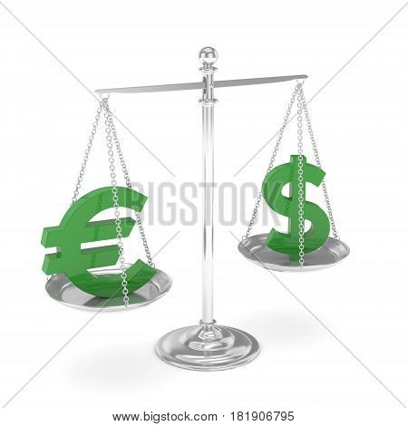 Isolated silver scales with green dollar and euro currency. American and european finance. Measuring of market stability. 3D rendering.