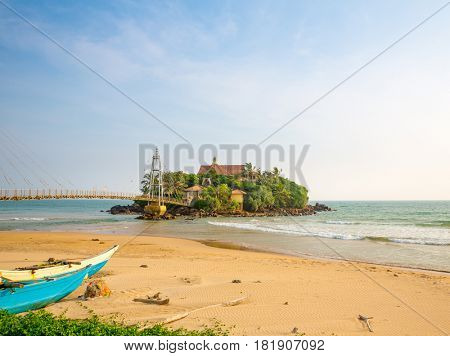 Tropical paradise island on Sri Lanka coast