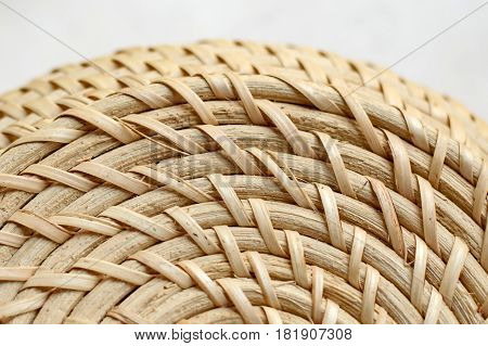 Natural braided detail. Rural weaving with natural straw. Ecological handmade items.