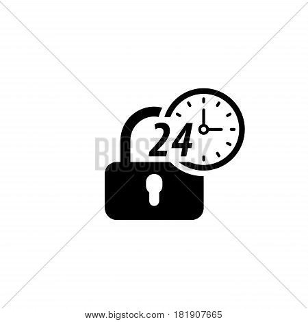 Secured 24-hour Icon. Flat Design. Security Concept with a padlock and a clock. Isolated Illustration. App Symbol or UI element.