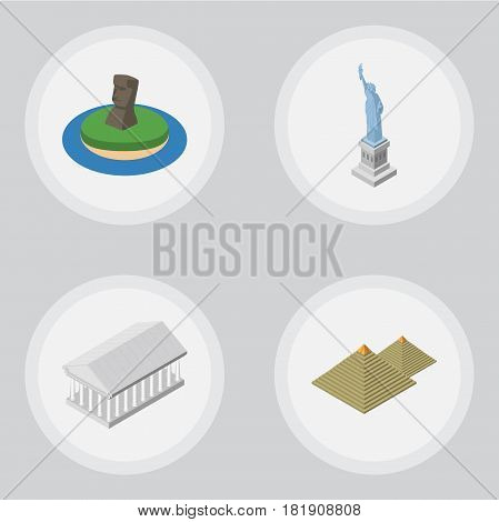 Isometric Attraction Set Of Athens, New York, Egypt And Other Vector Objects. Also Includes Statue, America, Egypt Elements.