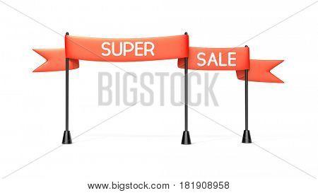 Red banner - super sale. 3d illustration
