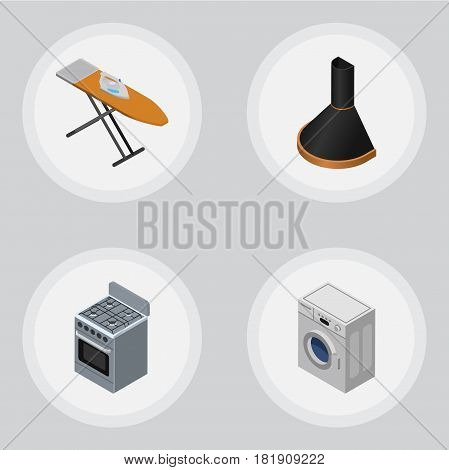 Isometric Device Set Of Stove, Air Extractor, Cloth Iron And Other Vector Objects. Also Includes Kitchen, Hood, Stove Elements.
