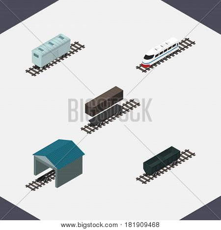 Isometric Railway Set Of Carbon Railway Container, Railroad Carriage, Delivery Tank And Other Vector Objects. Also Includes Speed, Railway, Container Elements.