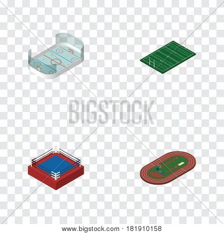 Isometric Lifestyle Set Of Fighting, Ice Games, American Football And Other Vector Objects. Also Includes American, Hockey, Run Elements.