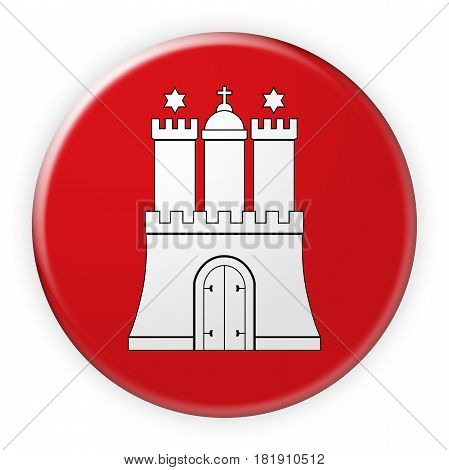 Germany Federal State Button: Hamburg Flag Badge 3d illustration on white background