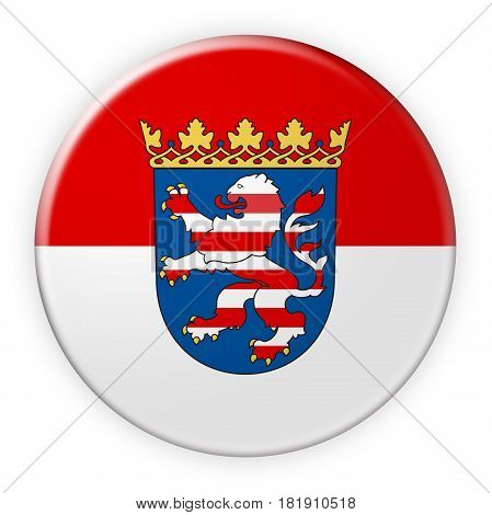 Germany Federal State Button: Hesse Flag Badge 3d illustration on white background