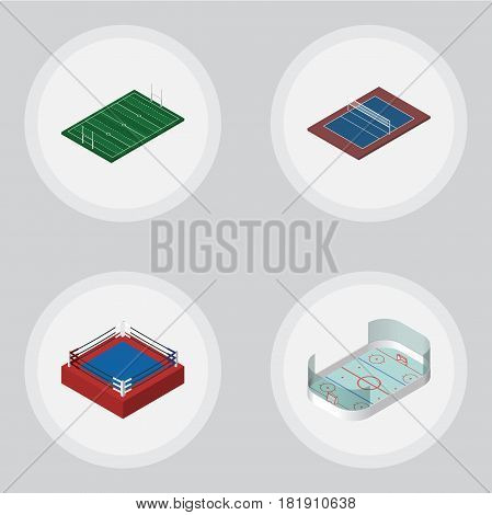 Isometric Lifestyle Set Of American Football, Tennis, Fighting And Other Vector Objects. Also Includes Hockey, Ice, Boxing Elements.