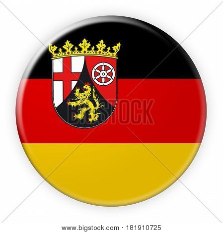 Germany Federal State Button: Rhineland-Palatinate Flag Badge 3d illustration on white background