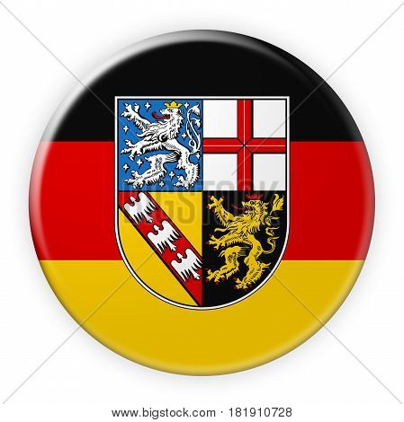 Germany Federal State Button: Saarland Flag Badge 3d illustration on white background