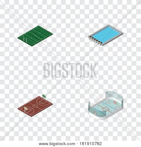 Isometric Sport Set Of Ice Games, Basin, American Football And Other Vector Objects. Also Includes Football, Playground, B-Ball Elements.