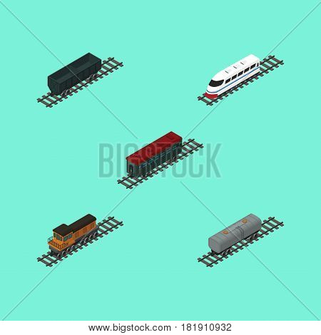 Isometric Wagon Set Of Carbon Railway Container, Subway Vehicle, Train And Other Vector Objects. Also Includes Petroleum, Speed, Locomotive Elements.