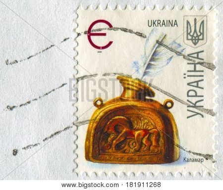 GOMEL, BELARUS, APRIL 16, 2017. Stamp printed in Ukraine shows image of  The inkwell is a small jar or container, often made of glass, porcelain, silver, brass, or pewter,  circa 2008.